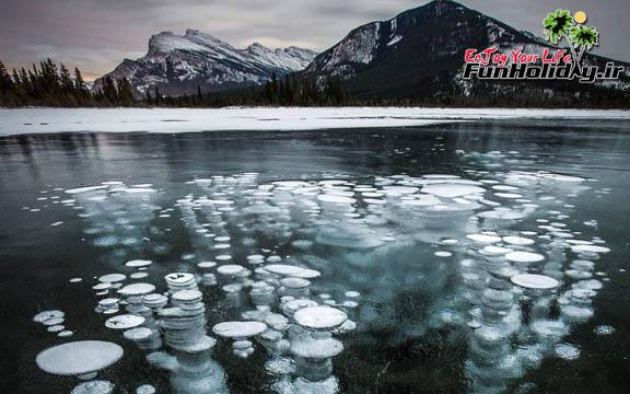 دریاچهای مملو از حبابهای یخی هوا